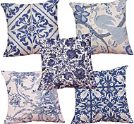 cheap -Set of 5  Chinese Style Blue and White Pattern  Decorative Chenille Square Throw Pillow Cases Sofa Cushion Covers (18*18inch)