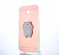 cheap -Case For Samsung Galaxy A5(2017) A3(2017) Mirror Squishy DIY Back Cover Cat Solid Color 3D Cartoon Hard PC for A3(2017) A5(2017) A7(2017)