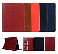 cheap -Case For Apple iPad 4/3/2 iPad Air 2 iPad Air Card Holder Wallet with Stand Magnetic Full Body Cases Solid Color Hard Genuine Leather for