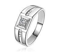 Men's Band Rings Cubic Zirconia Luxury Classic Bling Bling Metallic Costume Jewelry Multi-ways Wear Sterling Silver Zircon Circle