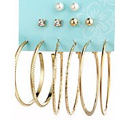 cheap -Women's Crystal Rhinestone Imitation Pearl Crystal Imitation Pearl - Personalized Sexy Fashion Gold Silver Square Circle Earrings For