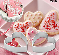 cheap -2pcs/set Kitchen small Loving Heart Shaped Aluminium Tools Alloy Pastry Biscuit Cookie Cutter Baking Mould
