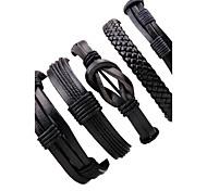 Недорогие -Муж. Кожа Кожаные браслеты - Multi-Wear способы Регулируется нерегулярный Черный Браслеты Назначение Для клуба Для улицы
