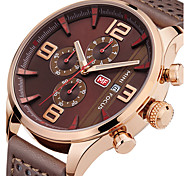 cheap -Men's Quartz Wrist Watch / Sport Watch Calendar / date / day / Chronograph / Creative / Cool / Stopwatch Genuine Leather Band Charm /
