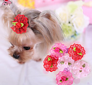 Cat / Dog Hair Bow / Hair Accessories Red / Pink / Rose Dog Clothes Spring/Fall Wedding / Cosplay