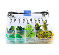 Anmuka 30Pcs/Set Mix Frog Fishing Lure Single Hook Double Hook Frog Soft Artificial Bait Lures