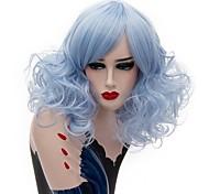 жен. Парики из искусственных волос Без шапочки-основы Средний Кудрявые Небесно-голубой Серый Стрижка боб Парик из натуральных волос