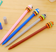 12 PCS/Set Cartoon Animal Cake Black Ink Gel Pen