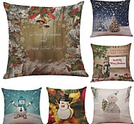 cheap -Set of 6 Christmas Snow Pattern Linen Cushion Cover Home Office Sofa Square Pillow Case Decorative Cushion Covers Pillowcases (18*18Inch)