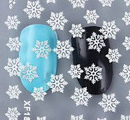 1 Sheet Christmas 3D Nail Stickers White Snowflake Pattern Nail Art Manicure Decoration XF183