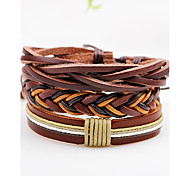 Men's Women's Leather Bracelet Jewelry Fashion Personalized Hip-Hop Handmade Leather Line Twist Circle Jewelry For Daily Casual Street