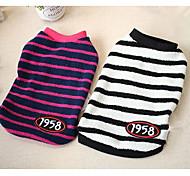 cheap -Dog Sweatshirt Dog Clothes Casual/Daily Stripe Fuchsia White/Black Costume For Pets