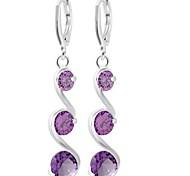 cheap -Women's Oversized Rhinestone Drop Earrings - Sexy / Fashion / Oversized Silver / Purple / Pink Waves Earrings For Wedding / Party /