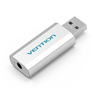 cheap -VENTION USB 2.0 Adapter, USB 2.0 to 3.5mm Adapter Male - Female Nickel-plated steel