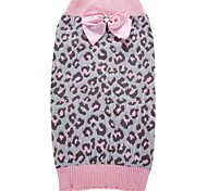 Cat Dog Coat Sweater Dog Clothes Party Casual/Daily Cosplay Keep Warm Wedding Halloween Christmas New Year's Leopard Blushing Pink