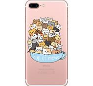 Недорогие -Случай для яблока iphone 7 7 плюс крышка случая кота картина покрашенная высокое проникновение tpu материал мягкий случай случай телефона