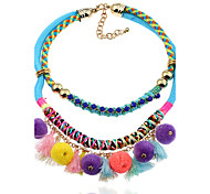 Lureme Bohemian Handmade Boho Pom Pom Necklace Tassels Charms for Women and Girls-Multicolor
