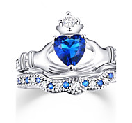cheap -Women's Luxury Cubic Zirconia Zircon / Alloy Heart Band Ring - Personalized / Luxury / Classic Royal Blue Ring For Christmas / Wedding /