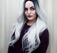 Middle Part Natural Wavy Black Ombre  Grey Synthetic Wigs 20inch Middle Long Full Wig for Women