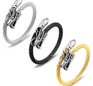 Men's titanium steel wire braided cord with a ring bracelet