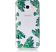 Case For Samsung Galaxy A3 (2017) A5 (2017) Case Cover Green Leaves Pattern Feel Varnish Relief High Penetration TPU Material Phone Case