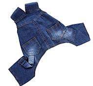 Недорогие -Собака Комбинезоны Джинсовые куртки Брюки Одежда для собак Для вечеринки День рождения ковбой На каждый день Мода Однотонный Синий Костюм