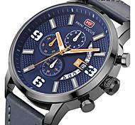 Недорогие -мужские кварцевые спортивные часы / наручные часы календарь / дата / день / творческий / крутой браслет из натуральной кожи / роскошь / повседневная