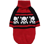 Cat Dog Coat Sweater Dog Clothes Party Casual/Daily Cosplay Keep Warm Wedding Halloween Christmas New Year's Skulls Red