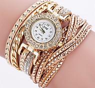 Women's Fashion Watch Bracelet Watch Unique Creative Watch Casual Watch Simulated Diamond Watch Chinese Quartz Imitation Diamond PU Band