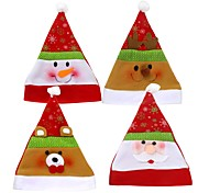 4PC Christmas Hats For Adults Santa Elk Snowman Christmas Party Santa Hat Red White Cap For New Year Christmas Decorations