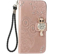 cheap -Case For Apple iPhone 7 Plus iPhone 7 Card Holder Wallet Rhinestone with Stand Flip Pattern Embossed Full Body Cases Owl Hard PU Leather