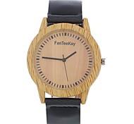 Men's Women's Fashion Watch Wrist watch Unique Creative Watch Wood Watch Chinese Quartz Leather Band Vintage Charm Elegant Casual Black