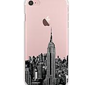Para iPhone 7 iPhone 7 Plus Case Tampa Ultra-Fina Transparente Estampada Capa Traseira Capinha Vista da cidade Macia PUT para Apple