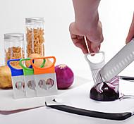 Недорогие -кухонный лук разрезатель разрезать лук держатель вилка томатный овощной слайсер режущий инструмент направляющий держатель плоттер