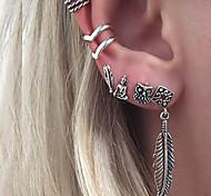 cheap -Men's Women's Stud Earrings Clip Earrings Jewelry Personalized Classic Vintage Bohemian Elegant Fashion Silver Plated Alloy Leaf Owl
