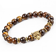 cheap -Men's Women's Bracelet Strand Bracelet Onyx Natural Handmade Stone Alloy Round Leopard Jewelry Party Gift Costume Jewelry Brown