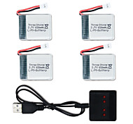 cheap -X8TW 3.7V 650mAh 4 PCS Battery Charger Battery RC Quadcopters General