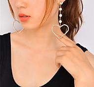 cheap -Women's Heart Rhinestone Imitation Pearl Imitation Pearl Rhinestone Dangle Earrings - Personalized Dangling Style Rhinestone Euramerican