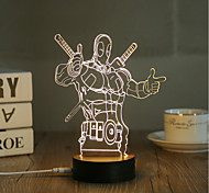 cheap -1 Set, Popular Home Acrylic 3D Night Light LED Table Lamp USB Mood Lamp Gifts, Deadpool