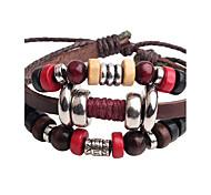 cheap -Men's Leather Leather Bracelet Strand Bracelet - Hip-Hop Adjustable Circle Dark Red Bracelet For Stage Club
