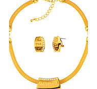 Women's Jewelry Set Crystal Imitation Diamond Unique Design Fashion Statement Jewelry Gold Cooper Circle Geometric1 Necklace 1 Pair of