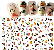 cheap -1pcs Halloween 3D Nail Stickers Sticker DIY Supplies New Year 3-D Nail Stamping Template Daily Fashion High Quality