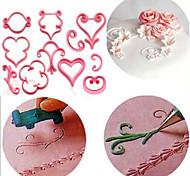 Недорогие -12 шт / комплект роза цветок сахарный цветок плесень цветок лепестки кружева сердце помада пластиковые украшения торт