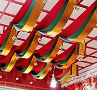 Недорогие -1 метр волны красный зеленый золотой три цвета ткани флаг для баннера украшения стороны для дня