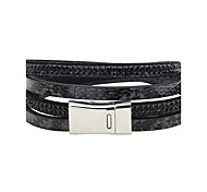 Men's Women's Leather Bracelet Tennis Bracelet Cubic Zirconia Personalized Rock Zircon Leather Circle Jewelry For Stage Street