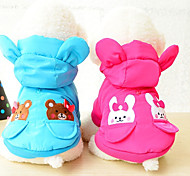 Cat Dog Coat Puffer / Down Jacket Dog Clothes Cotton Winter Keep Warm Cartoon Red Blue For Pets