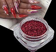 1bottle рождество ногтей искусство 3d зеркало эффект красный голографический мерцающий порошок хром блеск пигмент гвоздь искусство блеск украшения
