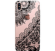 cheap -Case For Apple iPhone X iPhone 8 Transparent Pattern Back Cover Lace Printing Soft TPU for iPhone X iPhone 8 Plus iPhone 8 iPhone 7 Plus