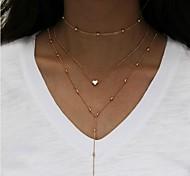 cheap -Women's Multi Layer Heart Layered Necklace - Multi Layer Fashion Heart Necklace For Daily Casual