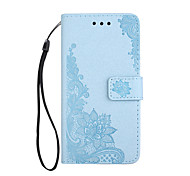 For iPhone X iPhone 8 Case Cover Wallet Card Holder with Stand Flip Embossed Pattern Magnetic Full Body Case Lace Printing Flower Hard PU